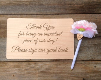 Custom Wedding Sign and Pen for your Guest Book Puzzle