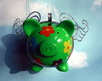 Flying Pig, Flower Power Green Winged Pig
