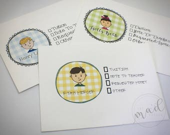 Kids' School Money or Note Envelopes Set