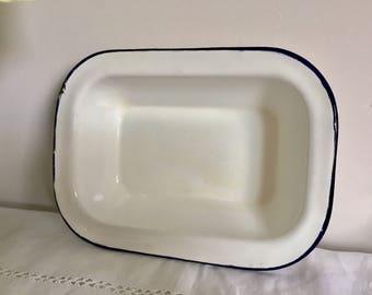 Vintage rectangular enamel pan. Czechoslovakian