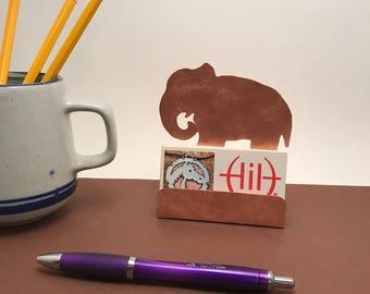 Elephant gifts etsy elephant business card holder copper desk accessory elephant gift gift for elephant lover solutioingenieria Images