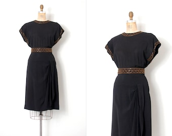 vintage 1940s dress /  gold beaded 40s dress / black rayon (medium m)
