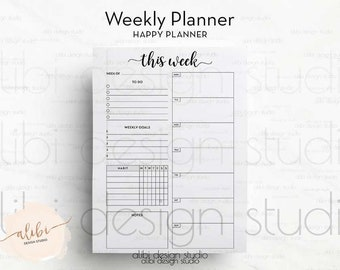 Weekly Planner, Happy Planner, Weekly Schedule, Planner Inserts, To Do List, Habit Tracker, Daily Planner, MAMBI, Printable Planner