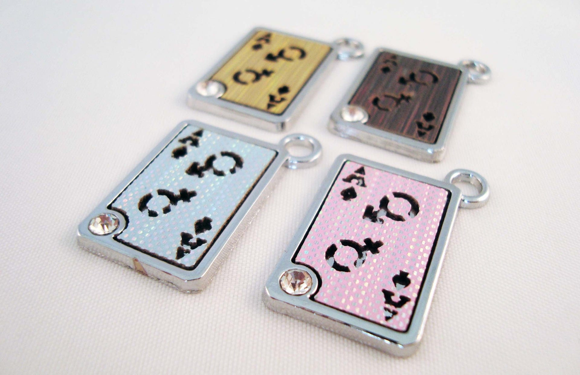 Hev56 set of 4 charms playing cards ace of spades poker request a custom order and have something made just for you biocorpaavc Choice Image