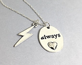 Silver Always harry potter pendant necklace, always necklace, word charm, harry potter always, always gift