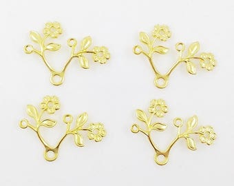 Gold Flower, Leaf Stamping, Flower Brass Drop, Wedding Supply, Headpiece Supply,  Brass Flower Finding, 28mm x 22mm - 4 pcs. (gd151)