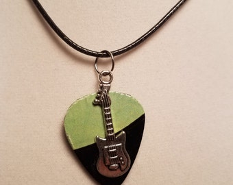Necklace made Vinyl Record - w/center cut from label- guitar necklace