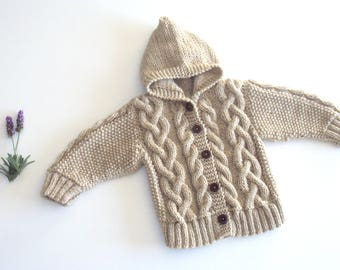 Knit Baby Hooded Jacket - Cable knitted jacket - Hooded baby cardigan