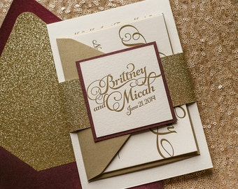 Wine & Gold Letterpress Glitter Fall Wedding Invitation, Gold Glitter Wedding Invite, Burgundy Invitation - Sample Set
