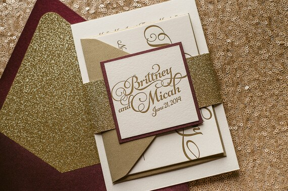 Wine gold letterpress glitter fall wedding invitation gold like this item junglespirit Image collections