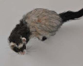 Needle felted animal Needle felted ferret. Custom pet portrait.  Memorial Needle felted ferret.