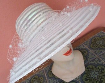 Eric Javits White Flocked Sheer Hat Iridescent Sequins  Bridal Wedding Derby Church Easter