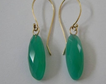 Beautiful 14k solid yellow gold with natural Emerald Green Chalcedony stone earrings