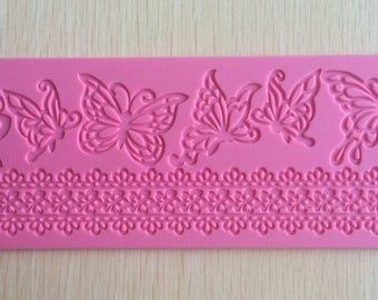 Butterflies & Lace Sugarcraft Border Silicone Mould Mat