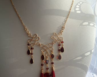 Gold necklace with garnet, 585 GoldFilled, in Bollywood style