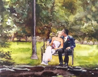 "Watercolor Wedding Portrait from photo- 16"" x 20"" original watercolor painting from your wedding photo -paper anniversary gift"