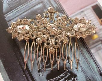 Royal garden rhinestones crystals wedding bridal hair comb, rhibestones hair comb, wedding headpiece, crystals comb, vintage Victorian