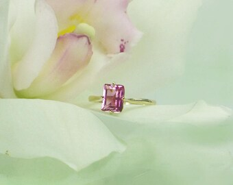 Pink Tourmaline Ring, Pink Solitaire Ring, Tourmaline Ring, Solitaire Ring, Tourmaline Gold Ring, Tourmaline Yellow Gold Ring, Tourmaline