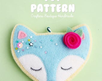 Kawaii Fox Sugar Cookie Charm. PDF Pattern. Digital Felt Toy Pattern.