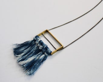 SAMPLE SALE* Indigo Dyed Shibori Necklace on Brass