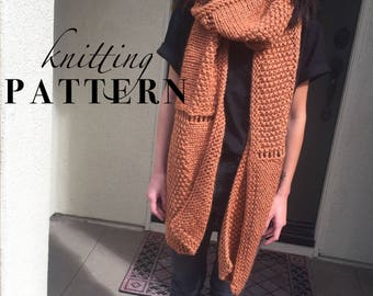 Knitting Pattern || Oversized Sierra Scarf PATTERN || PDF download || Knit scarf || Blanket scarf