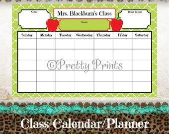 Teacher Calendar, Apple Calendar, School Planner, Desk Calendar - Cloverleaf - Green - Apples - 11 x 17 - Personalized Pad - Custom Calendar