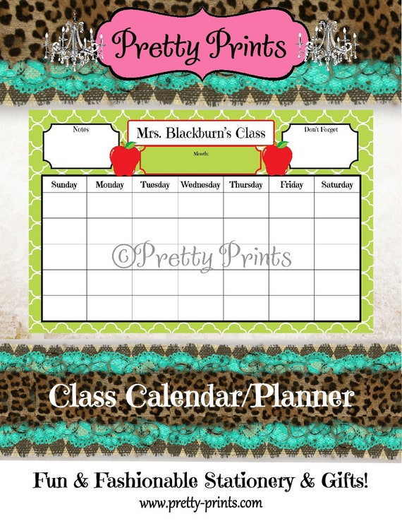 Teacher Calendar, Apple Calendar, School Planner, Desk Calendar - Cloverleaf - Green - Apples - 11 x 17 - Personalized Pad - Custom Calendar