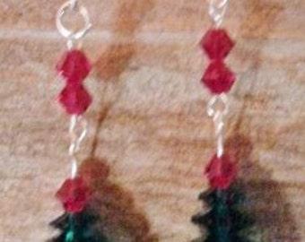 Swarovski Crystal Red And Green Christmas Tree Earrings