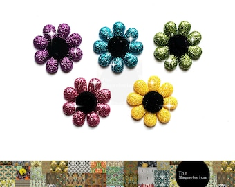 Glitter Flower Fridge Magnet Set