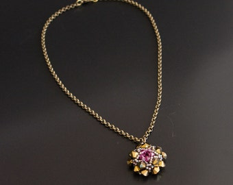 Brass Chain Necklace with Swarovski Crystals Pendant in Bronze and Pink. Rolo Necklace with Beaded Star Pendant S267