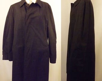 60's Sears King Crown Black Alpaca Lined Trench Coat Size 40