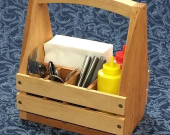 Wood Picnic Caddy - Condiment Tote -  Napkin Holder - Utensil Transport
