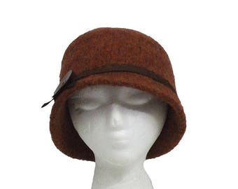 Rusty Brown Cloche Style Hat