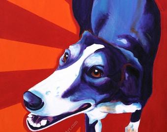 Greyhound, Pet Portrait, DawgArt, Dog Art, Pet Portrait Artist, Colorful Pet Portrait, Greyhound Art, Art, Art Prints, Pet Portrait Painting