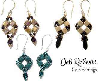 Coin Earrings beaded pattern tutorial by Deb Roberti