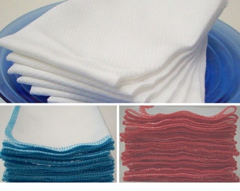 Unpaper Towels - Eco Friendly Reusable Birdseye Cotton Kitchen Towels - Pack of 6 or 12 - Choice of Color