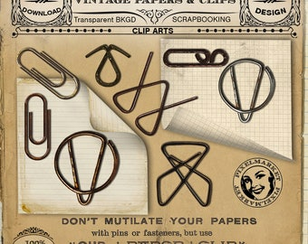 Office cliparts set VINTAGE PAPERCLIPS with Curled Note Pages for Scrapbooking Journaling Blog Design Post-it Note Printable download n203