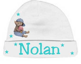 White cat baby hat and glass personalized with name