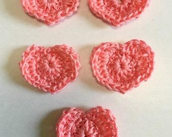 Crochet Hearts,  Hearts, Romantic Lacy Crochet Hearts, Bright Pink,  Crochet Hearts
