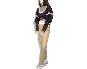 Designer lined beige leather pants!