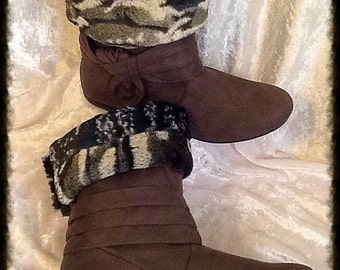 Short Pile Faux Fur Boot Cuffs in Camo Print Shades of Grey, Black and White