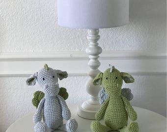 Light Blue and green Dragon Crochet Nursery Baby toy decor Dragon Stuffed Animal Rattle Toddler Crochet Toy Baby Shower Gift Birth gift boy