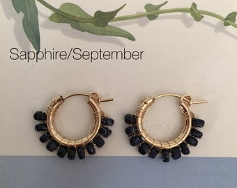 Birthstone - Sapphire / September, 14K Gold-Fill Hoops & Wire, Wire Wrap Hoops Earring
