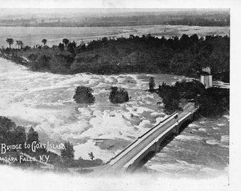 Vintage Postcard Stone Bridge to Goat Island Niagara Falls NY Unused