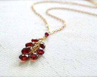 Minoan Necklace - garnet necklace, garnet tassel necklace, scarlet garnet tendril necklace, january birthstone, garnet jewelry