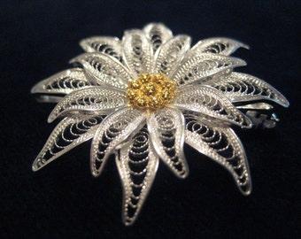 Edelweiss - silver filigree brooch