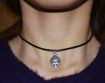 Buddha Choker Necklace - Lucky Buddha Charm Necklace - 90's grunge fashion -Boho Vibe