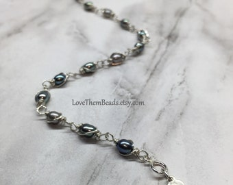 Pearl Bracelet June Birthstone Peacock Teal Grey Ombre Mixed Color Argentium Sterling Silver Wire Wrapped Bracelet by LoveThemBeads