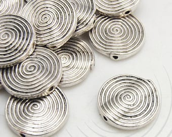 Set of 2 round beads, silver plated nickel free, 18 x 21 mm hole 1 mm