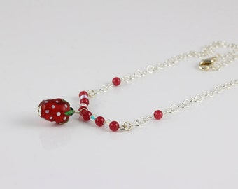 Strawberry Necklace, Dainty Strawberry Necklace, Lampwork Strawberry Necklace, Glass Strawberry Necklace, Red Necklace